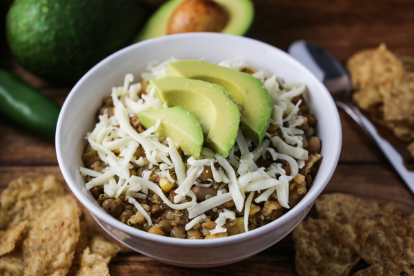 White Bean Salsa Verde Chili with Lentils & Quinoa