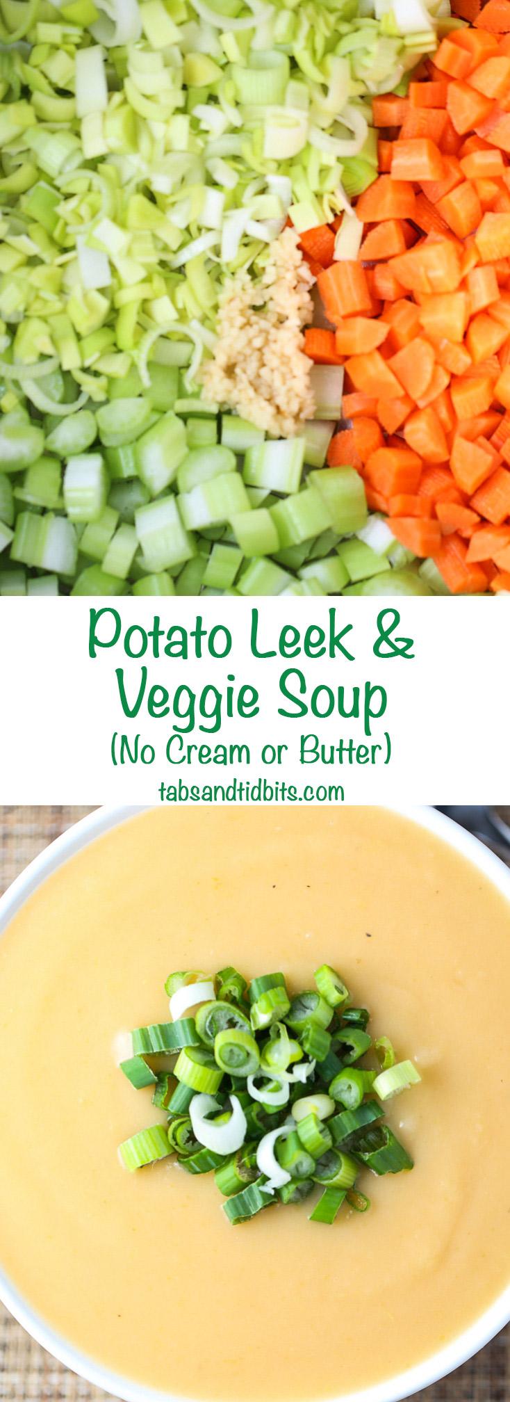 Potato Leek & Veggie Soup - No Cream or Butter! Naturally vegan & vegetarian friendly! Naturally delicious!