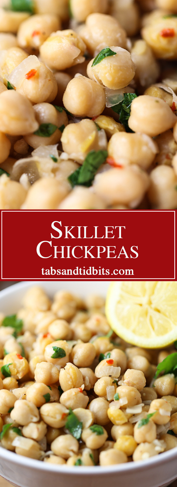 Skillet Chickpeas - Delicious chickpeas cooked with onion, garlic & red pepper flakes and coated with fresh lemon juice and parsley.