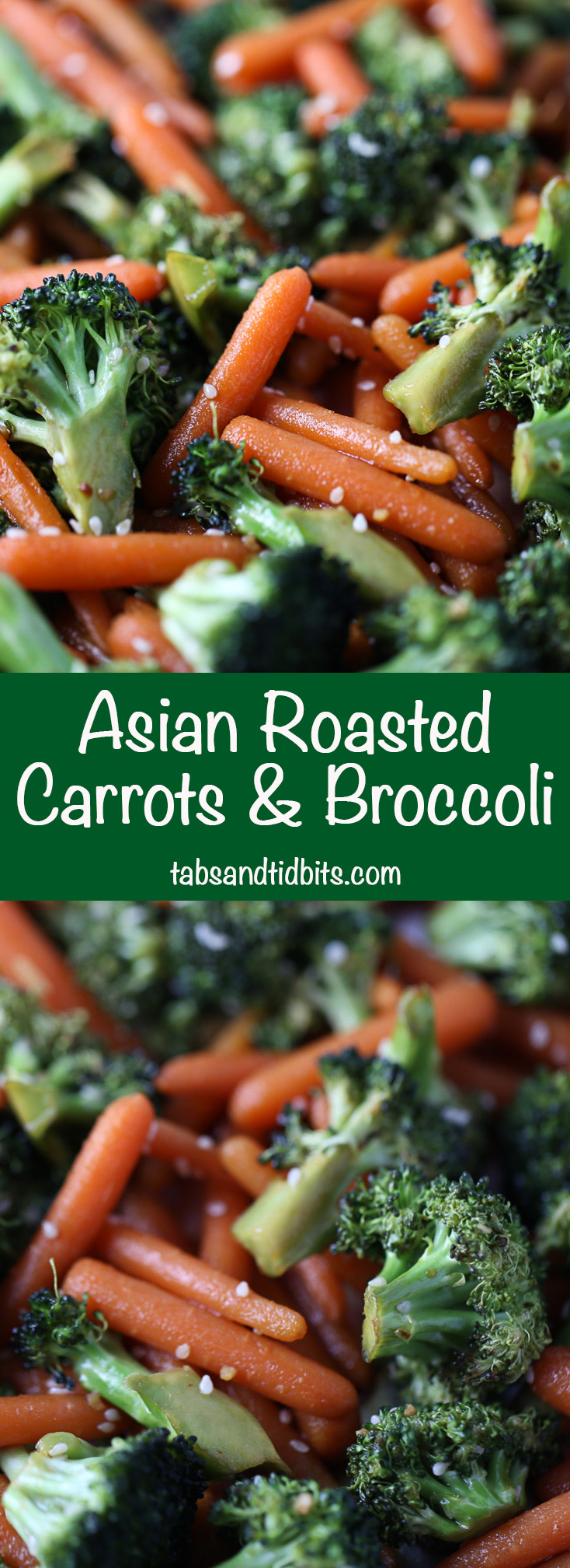 Asian Roasted Carrots & Broccoli - Roasted carrots & broccoli coated with a delicious soy sauce dressing!