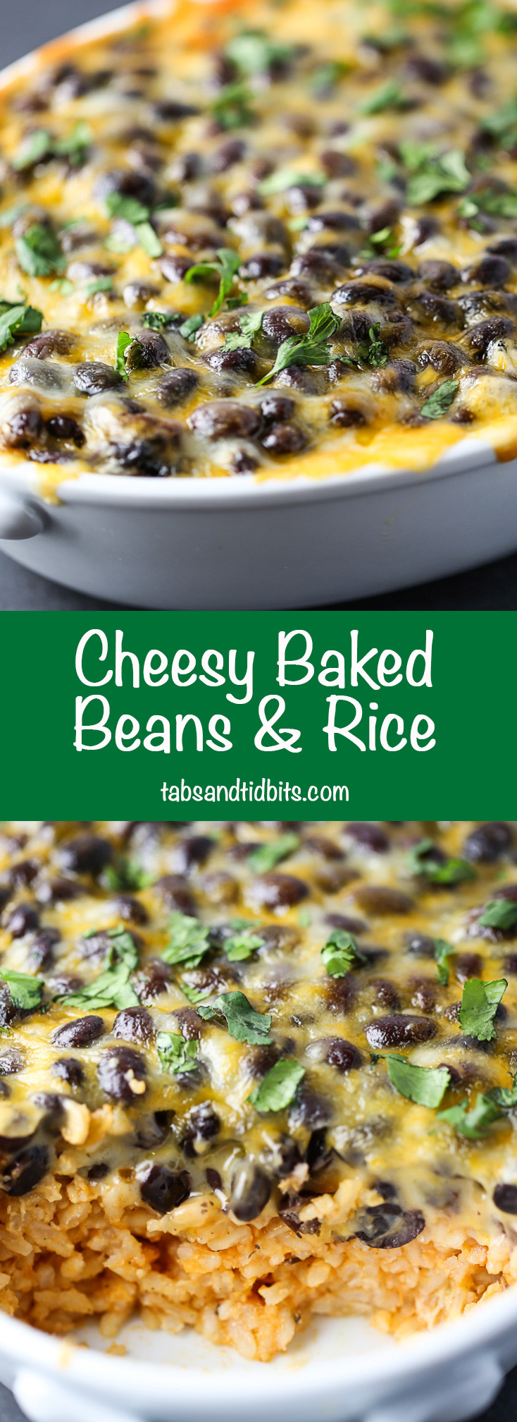 Cheesy Baked Beans & Rice - A quick and delicious meatless dish with salsa infused rice covered in beans and cheese.