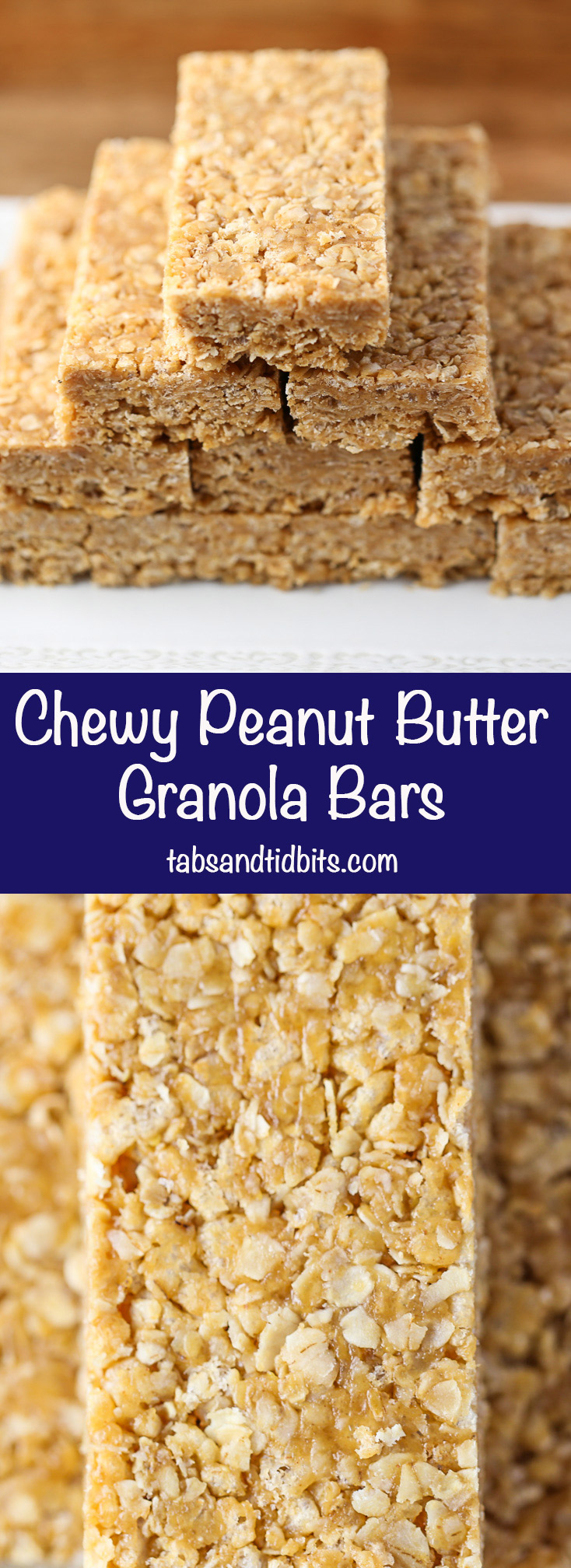 Chewy Peanut Butter Granola Bars - No baking required! Just a couple of minutes in the microwave & some time to chill in the refrigerator.