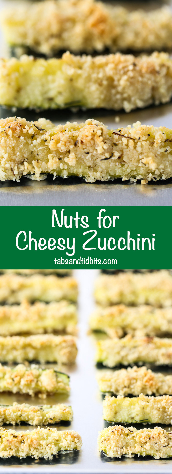 Nuts for Cheesy Zucchini -Zucchini coated in almond meal, pecorino romano cheese and seasonings baked into nutty and cheesy deliciousness!
