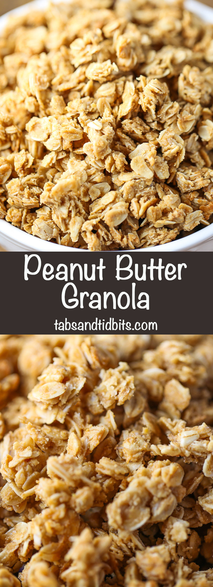 Peanut Butter Granola - Delicious and decadent peanut butter coated granola made with only 4 ingredients!