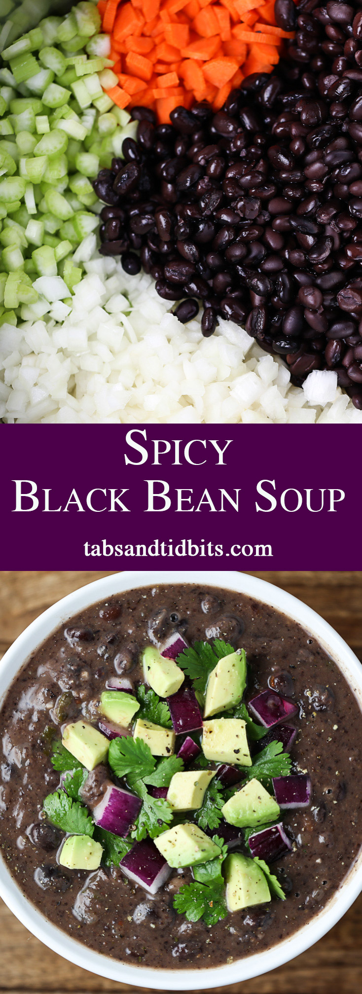 Spicy Black Bean Soup - Spicy & flavorful black bean soup that uses canned black beans, fresh vegetables along with the perfect spices to complete this soup!