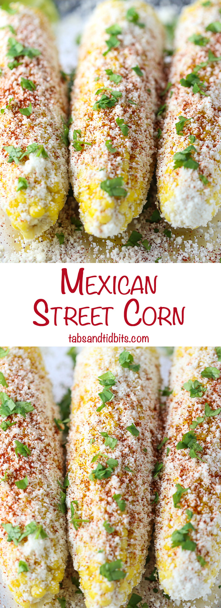Mexican Street Corn - Corn on the cob coated with garlic mayo, cotija cheese, chipotle chili powder, cilantro and a squeeze of fresh lime juice.