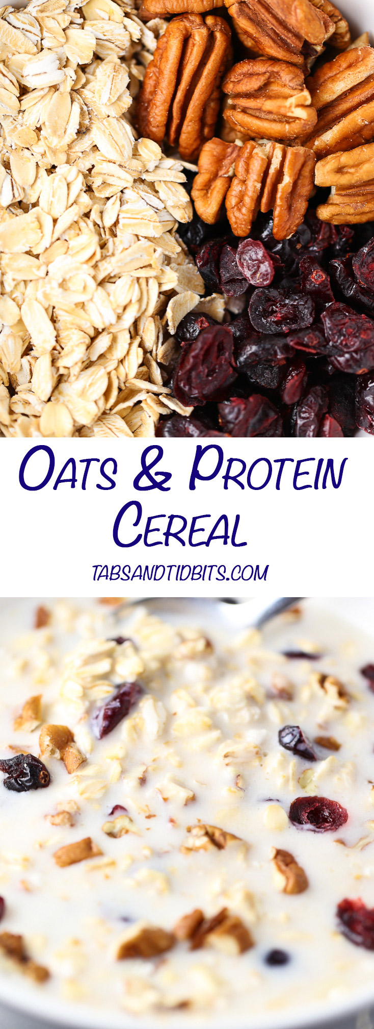 Oats Protein Cereal - Oats in almond milk with nuts, dried fruit and protein powder.