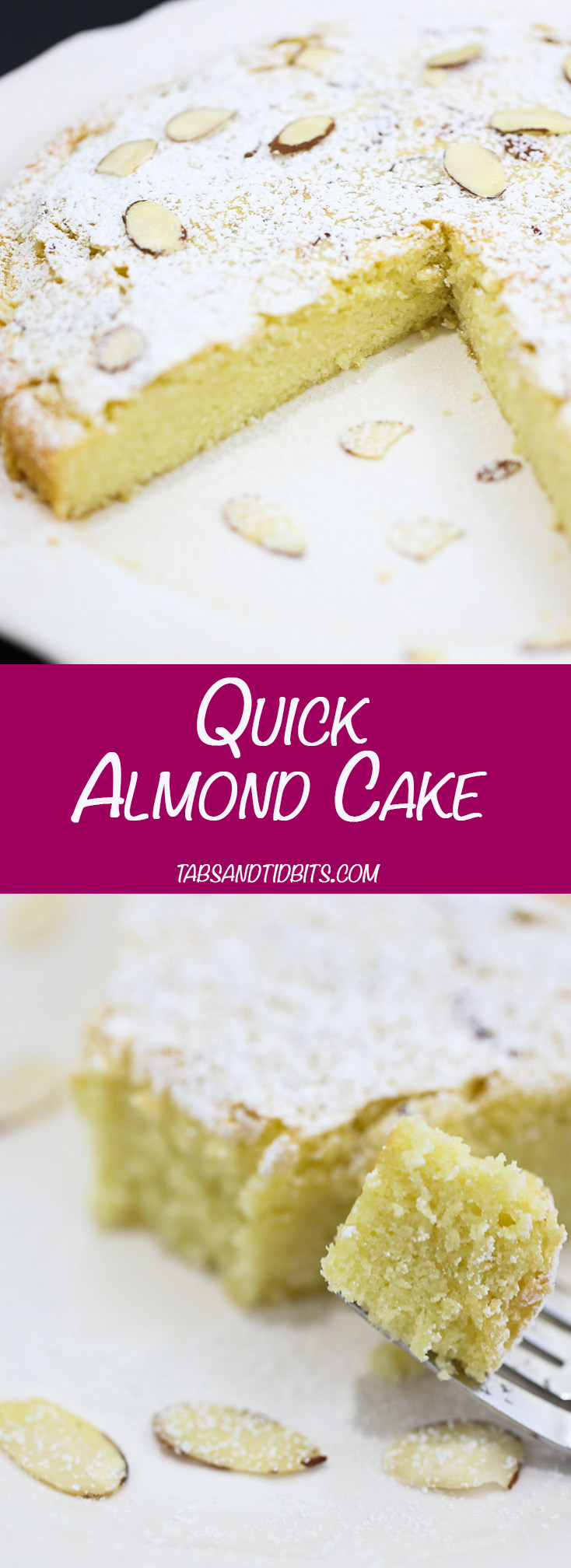 Quick Almond Cake - A quick and easy almond cake that comes together in 30 minutes.