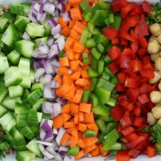 Refreshing Garbanzo & Chopped Veggie Salad
