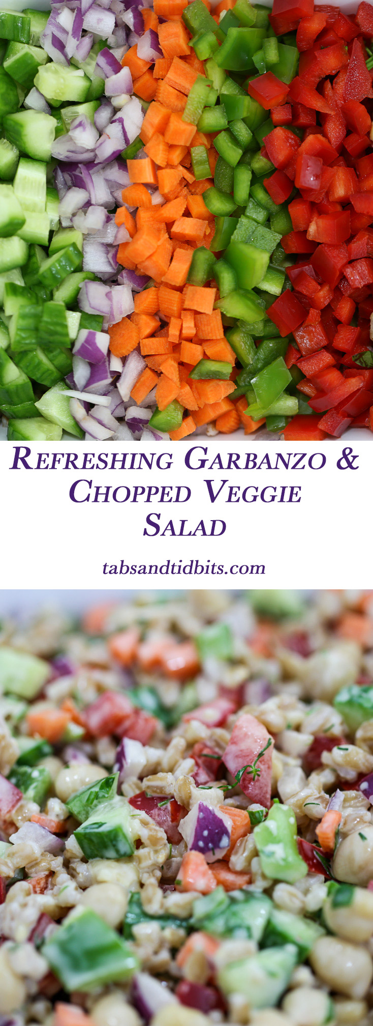 Refreshing Garbanzo & Chopped Veggie Salad - A delicious combination of fresh chopped veggies and herbs with farro and garbanzo beans completed with a creamy dill dressing.