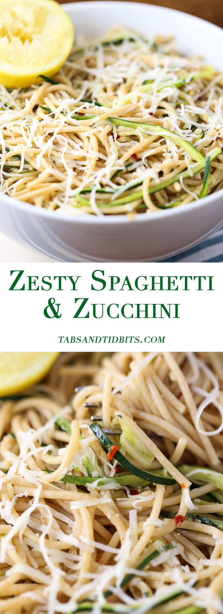 Zesty Spaghetti & Zucchini - Whole wheat spaghetti and thin strips of zucchini with garlic, olive oil, fresh lemon juice and a hint spice from red pepper flakes.