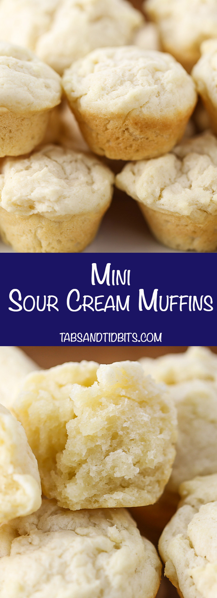 Mini Sour Cream Muffins - Decadent, savory, and melt in your mouth muffins made with just three ingredients!