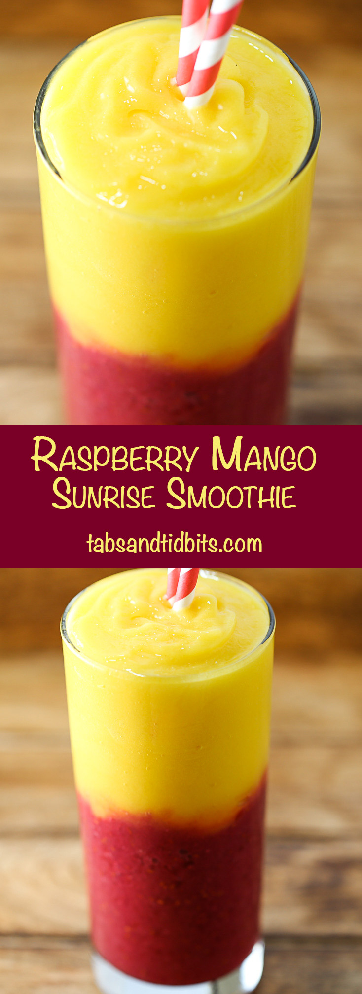 Raspberry Mango Sunrise Smoothie - A bright and tart raspberry layer topped with a layer of smooth and sweet mango!