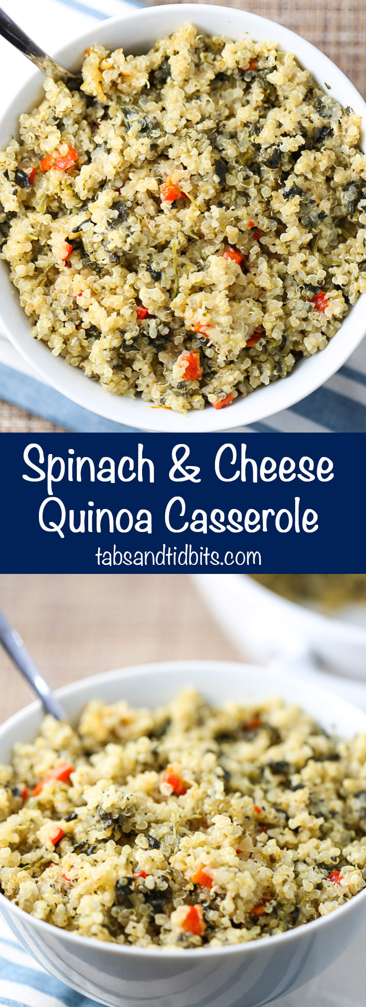 Spinach & Cheese Quinoa Casserole - This dish gives nutritional value but adds cheesy creaminess to round it out!