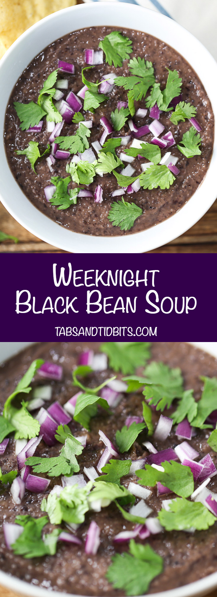 Weeknight Black Bean Soup -This Weeknight Black Bean Soup is one of the quickest soups to put together and cook in less than 20 minutes. Flavor is not sacrificed for this speedy soup!