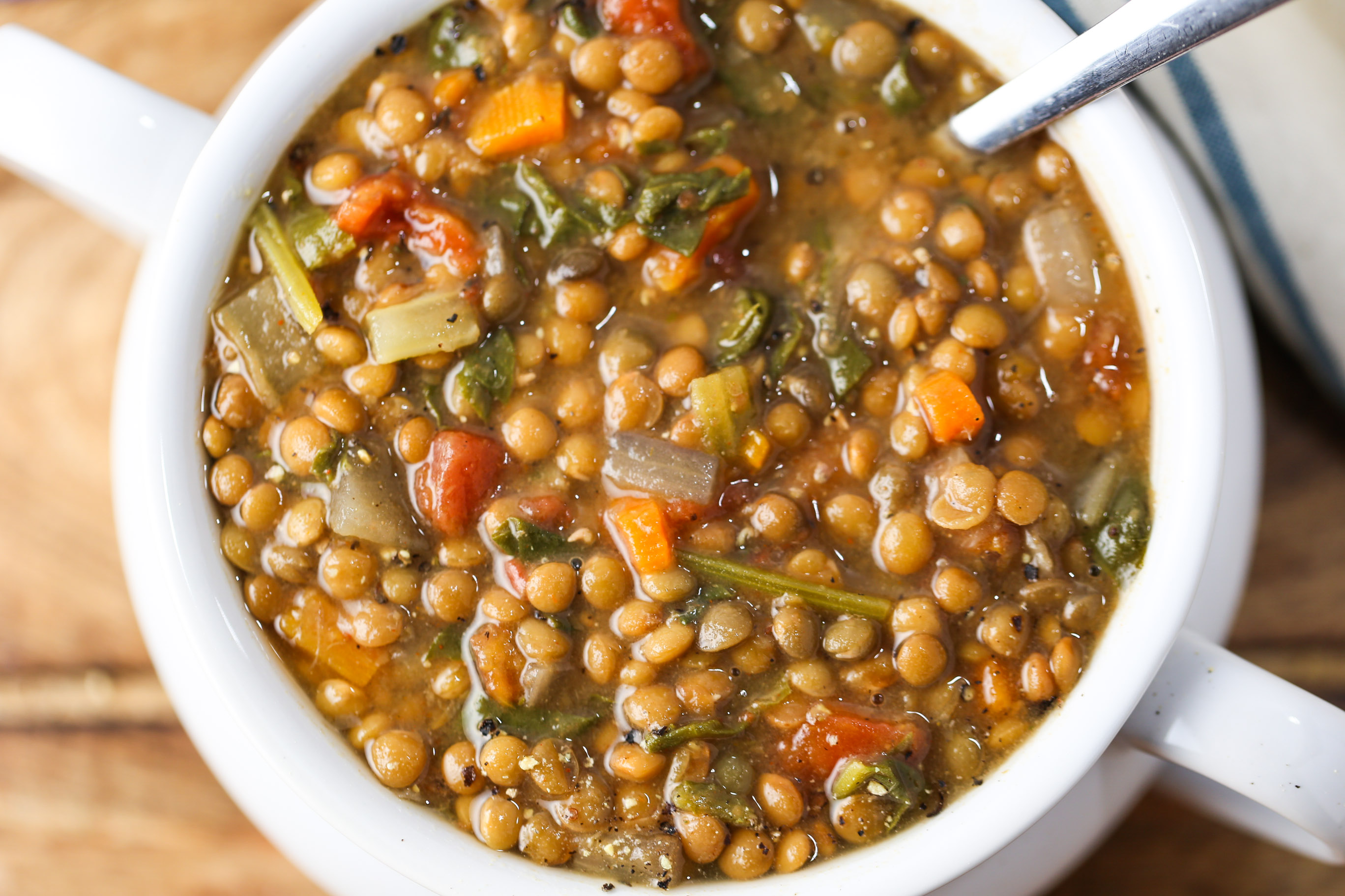 Lentil & Spinach Soup (Slow Cooker Style)