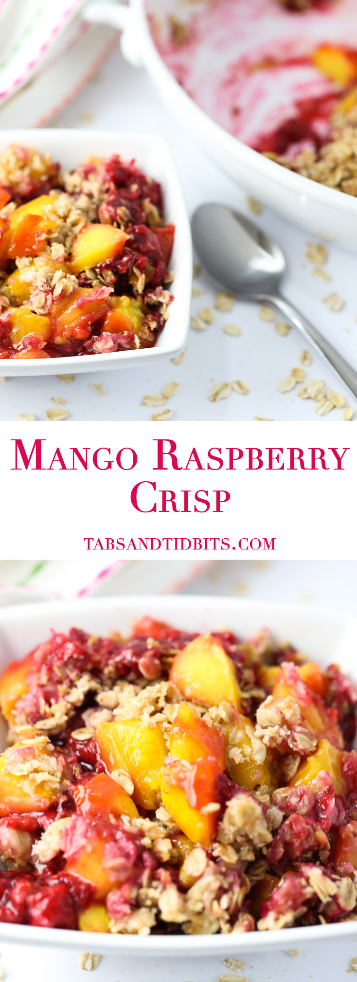 Mango Raspberry Crisp - A delicious combination of sweet and tart fruit with a crisp oat and coconut topping!