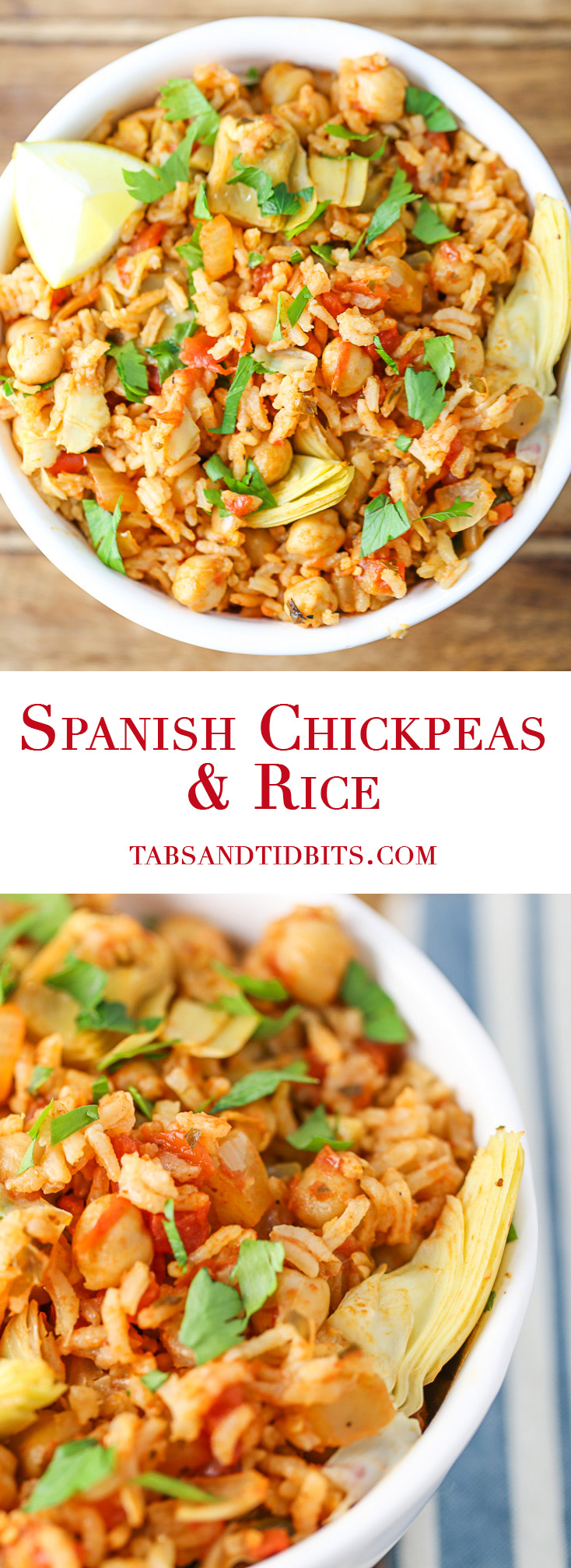 Spanish Chickpeas & Rice - A filling one pot dish full of spices, rice, chickpeas, tomatoes, artichoke hearts, and topped with fresh lemon!