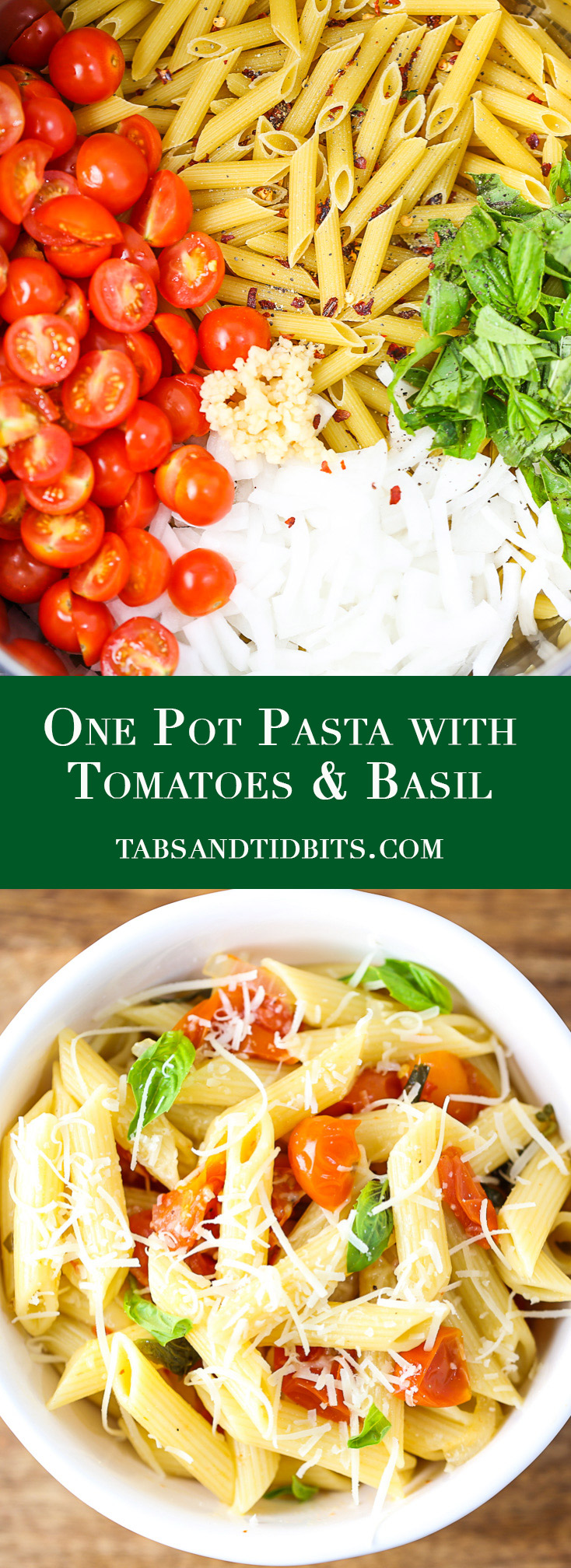 One Pot Pasta with Tomatoes & Basil - A quick and easy dish that cooks the pasta and creates a delicious sauce in one pot!