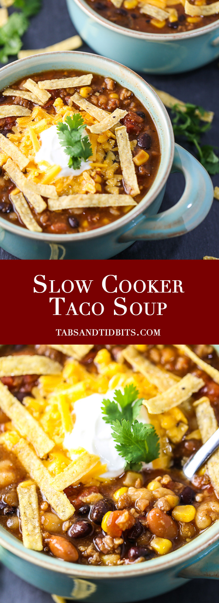 Slow Cooker Taco Soup - A hearty and spicy soup filled with plenty of seasoning and protein!