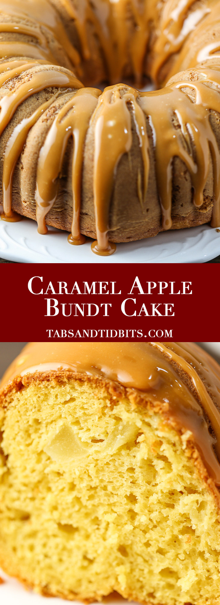 Caramel Apple Bundt Cake - A moist cake filled with fresh apples and drizzled with sweet caramel glaze!