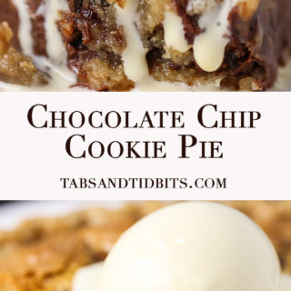 Chocolate Chip Cookie Pie - A sweet brown sugar and butter chocolate chip cookie batter baked into pie perfection!