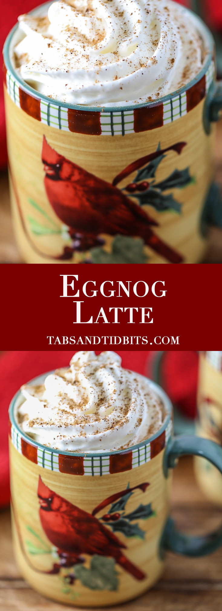 Eggnog Latte - Store-bought eggnog and strong brewed coffee make the perfect treat without having to make a trip to the coffee shop!