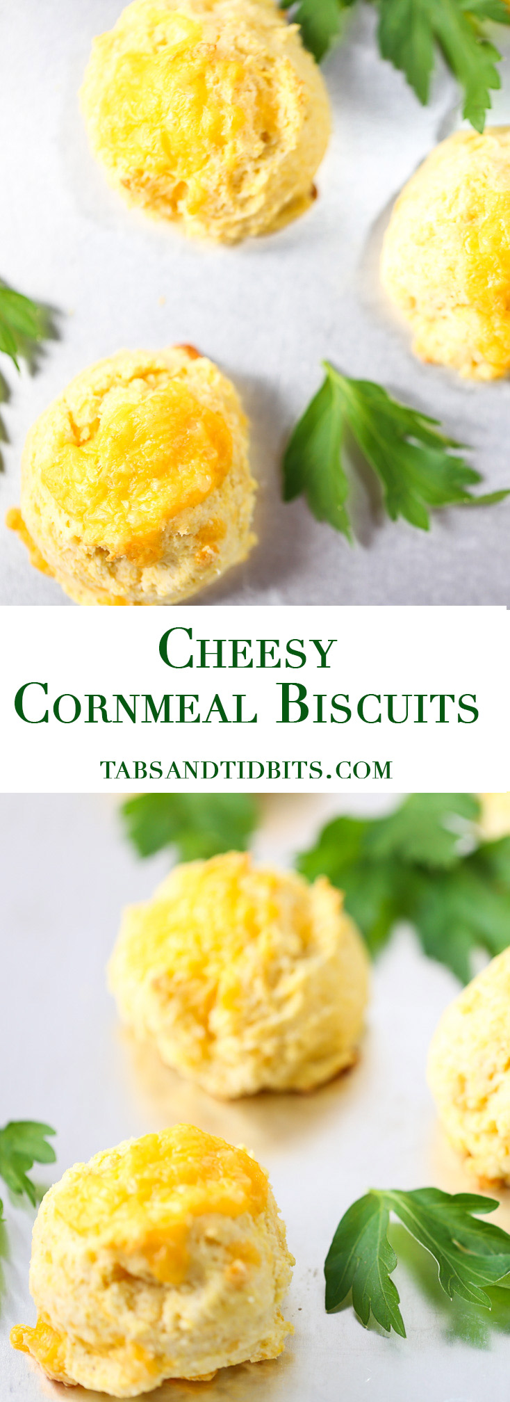 Cheesy Cornmeal Biscuits - Buttery and cheesy drop cornmeal biscuits that make the perfect addition to a hot bowl of soup or chili!