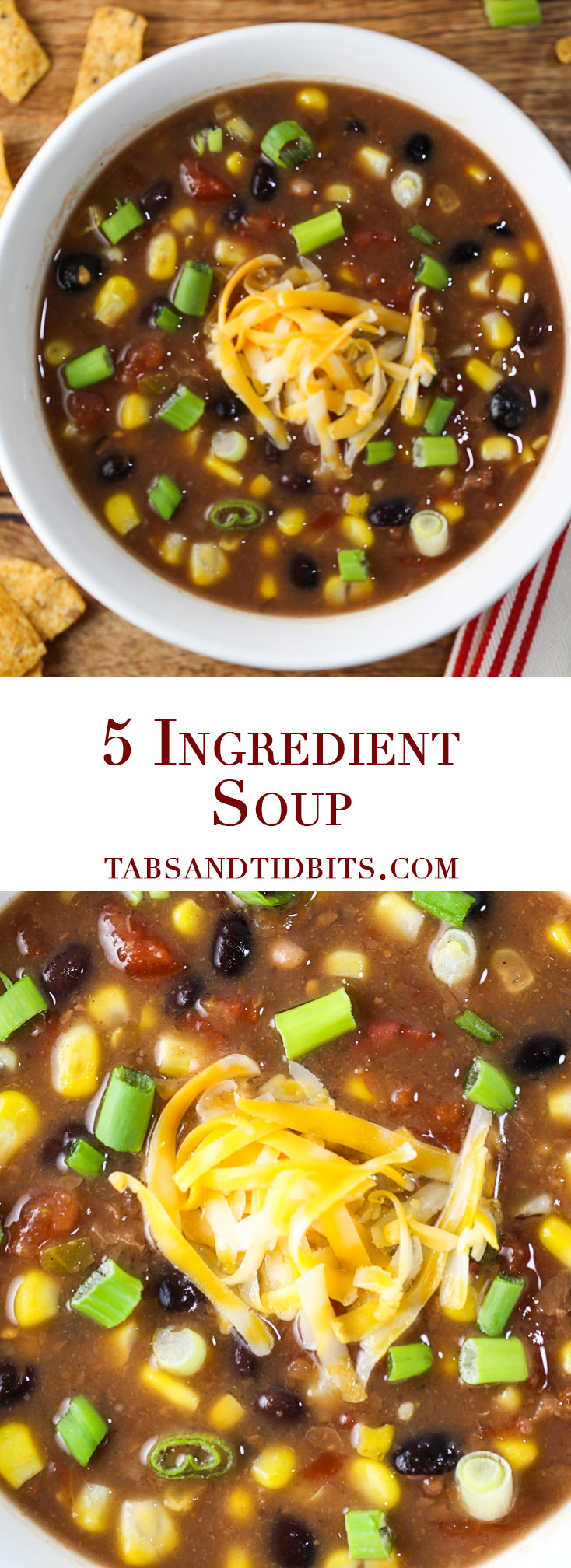 5 Ingredient Soup - A time saving protein-packed soup that is full os healthy fiber and tons of flavor!