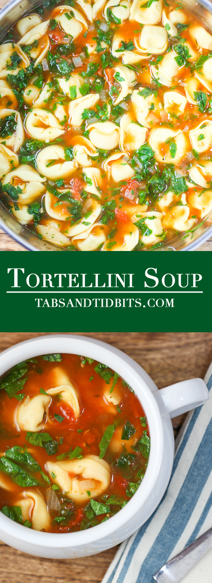 A quick and easy soup filled with tomatoes, fresh tomatoes, and cheese tortellini!
