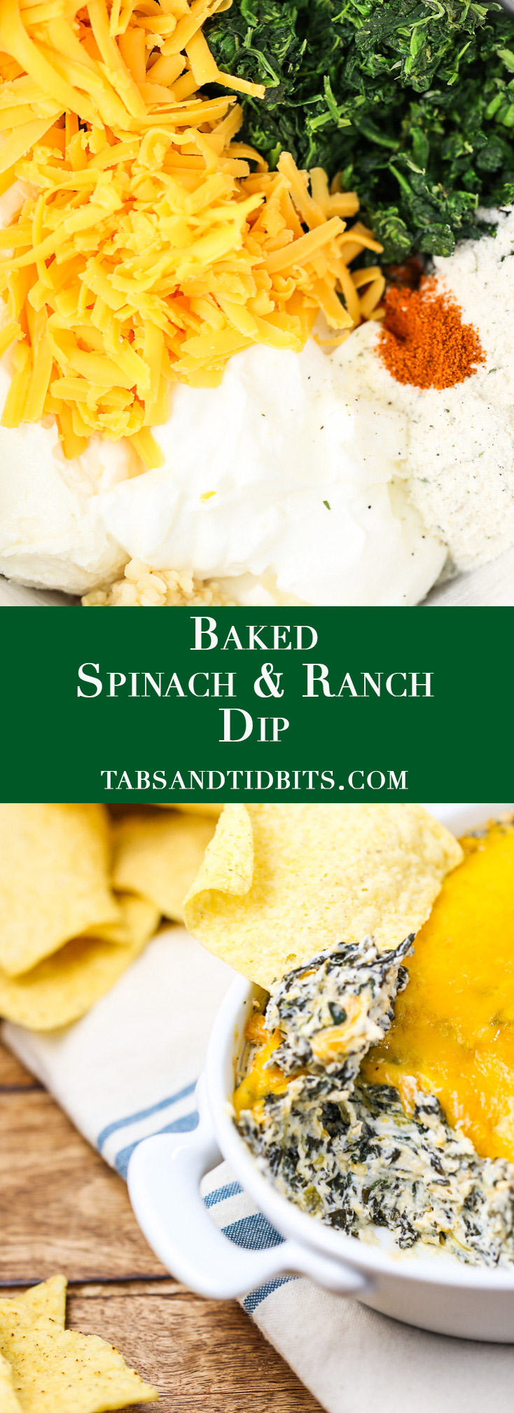 A warm and cheesy spinach dip with the added flavors from ranch seasoning!
