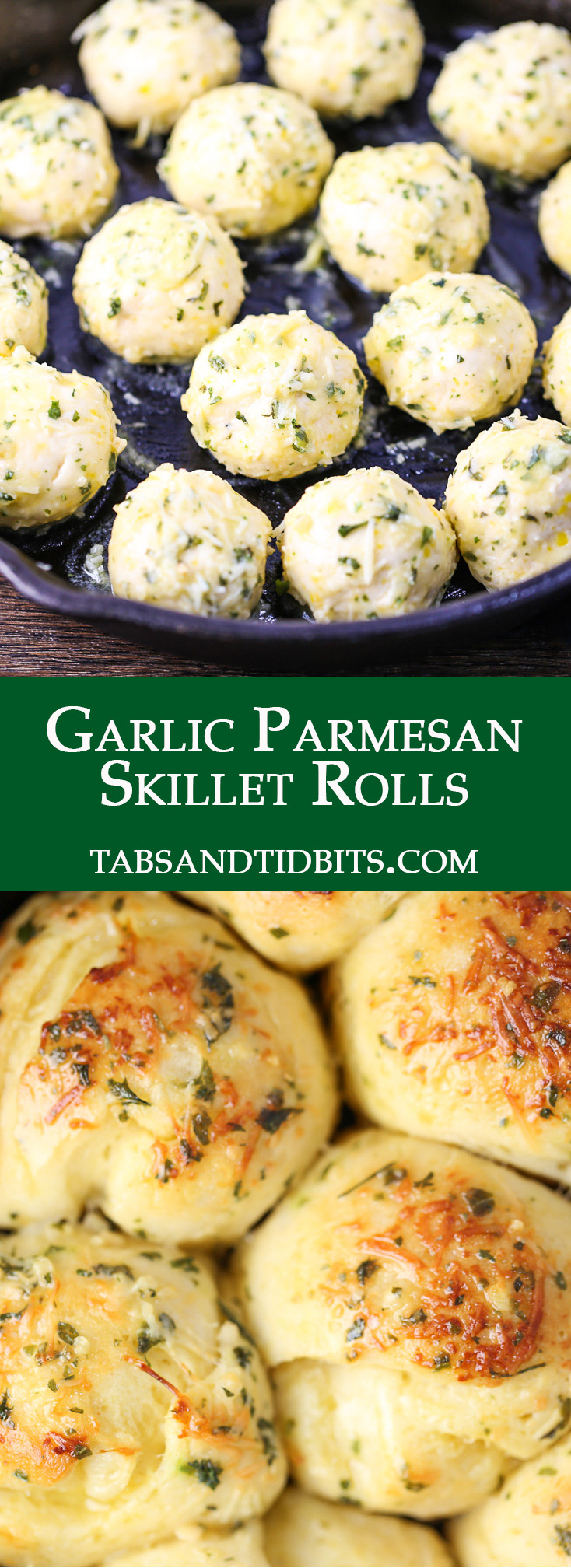 Refrigerated biscuits coated with a buttery garlic herb mix with freshly grated Parmesan cheese!