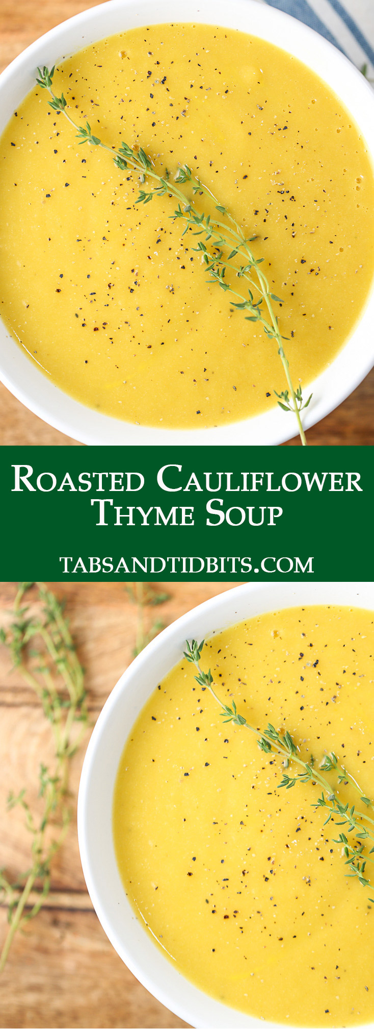 Roasted cauliflower and veggies are pureed into a nutritious and satisfying vegan soup!