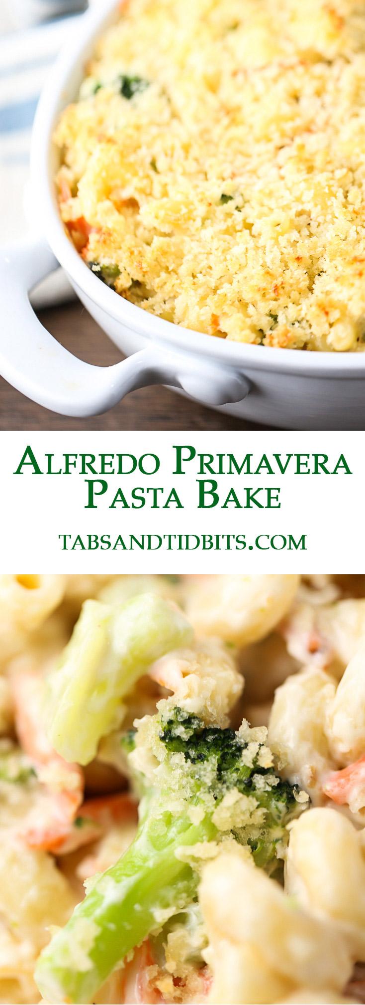 This Alfredo Primavera Pasta Bake is comfort and cozy in every singlebite!
