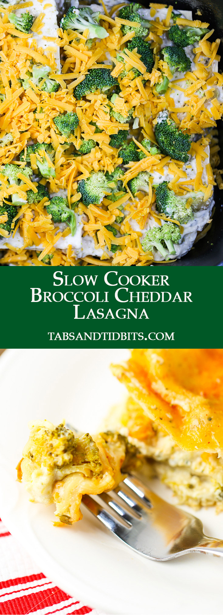 An easy to make lasagna with the twist of broccoli and cheese all in the slow cooker!