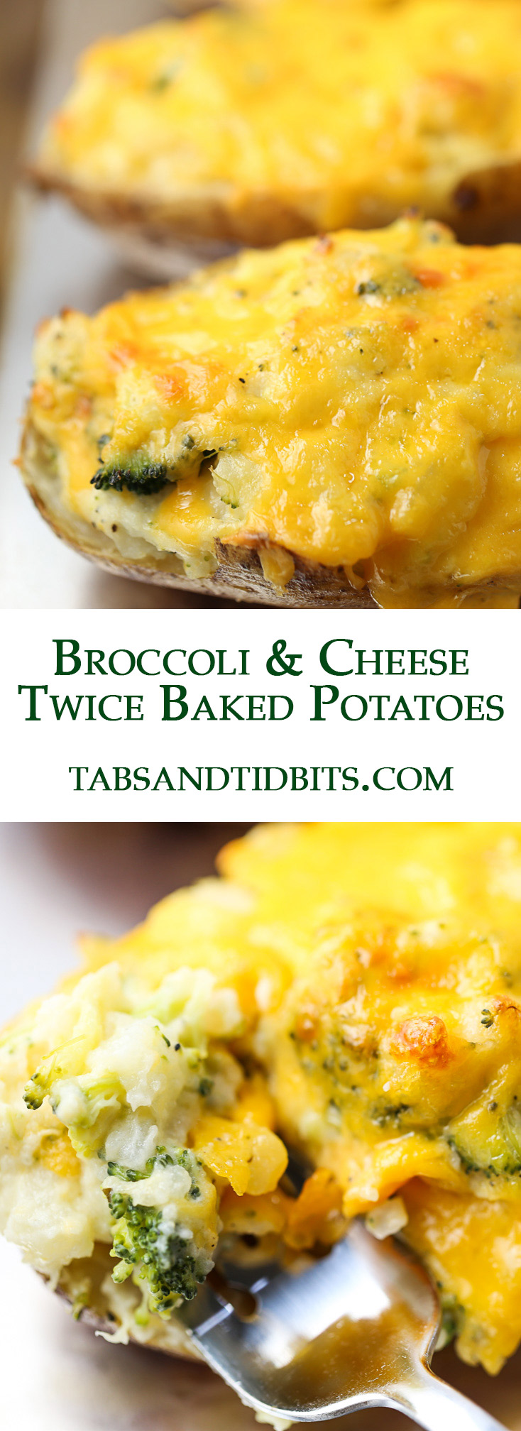 Potatoes baked up twice with ranch dressing, cheese, broccoli, and more cheese!