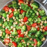 Chickpea Saute with Broccoli & Tomatoes