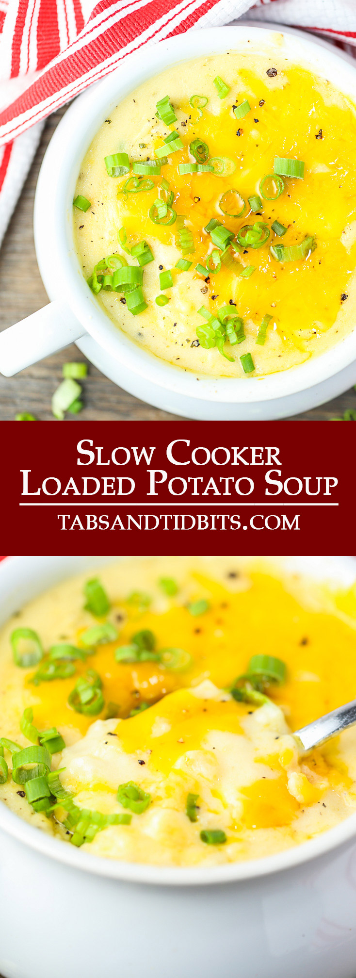 A slow cooker version of the creamy & cheesy loaded potato soup.