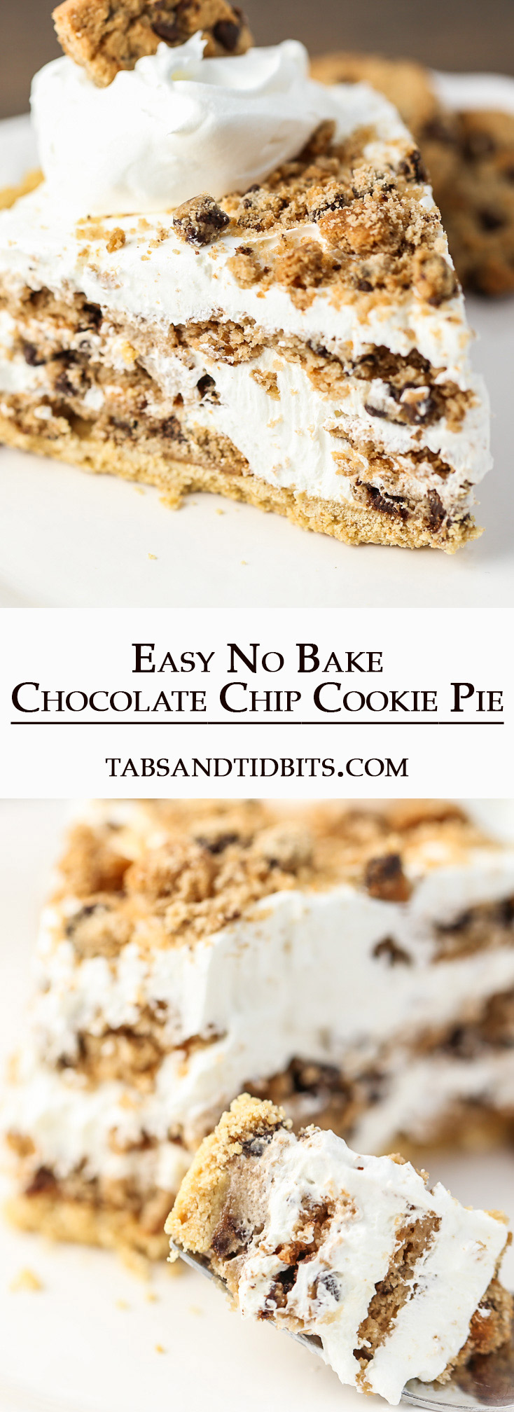 Four ingredients make this Easy No Bake Chocolate Chip Cookie Pie!