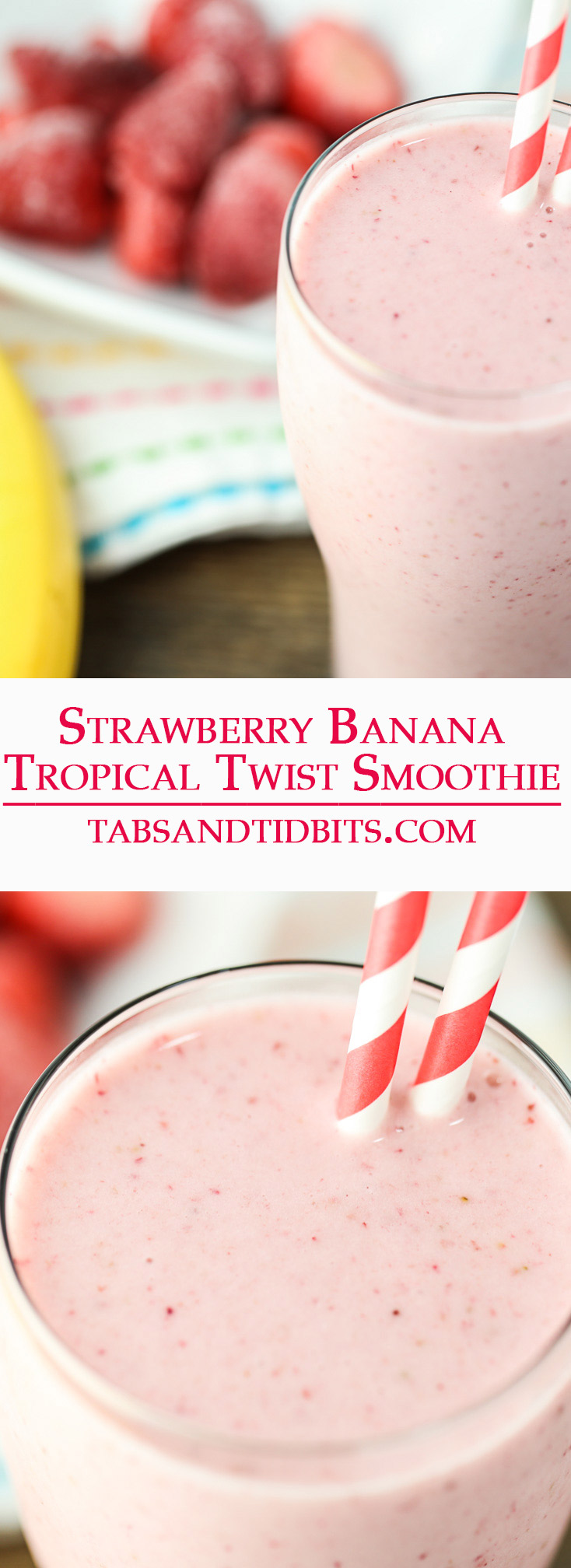 This smoothie is the classic strawberry and banana smoothie with the addition of creamy coconut milk to give deliver a delicious tropical twist!
