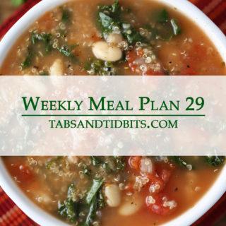 Weekly Menu 29