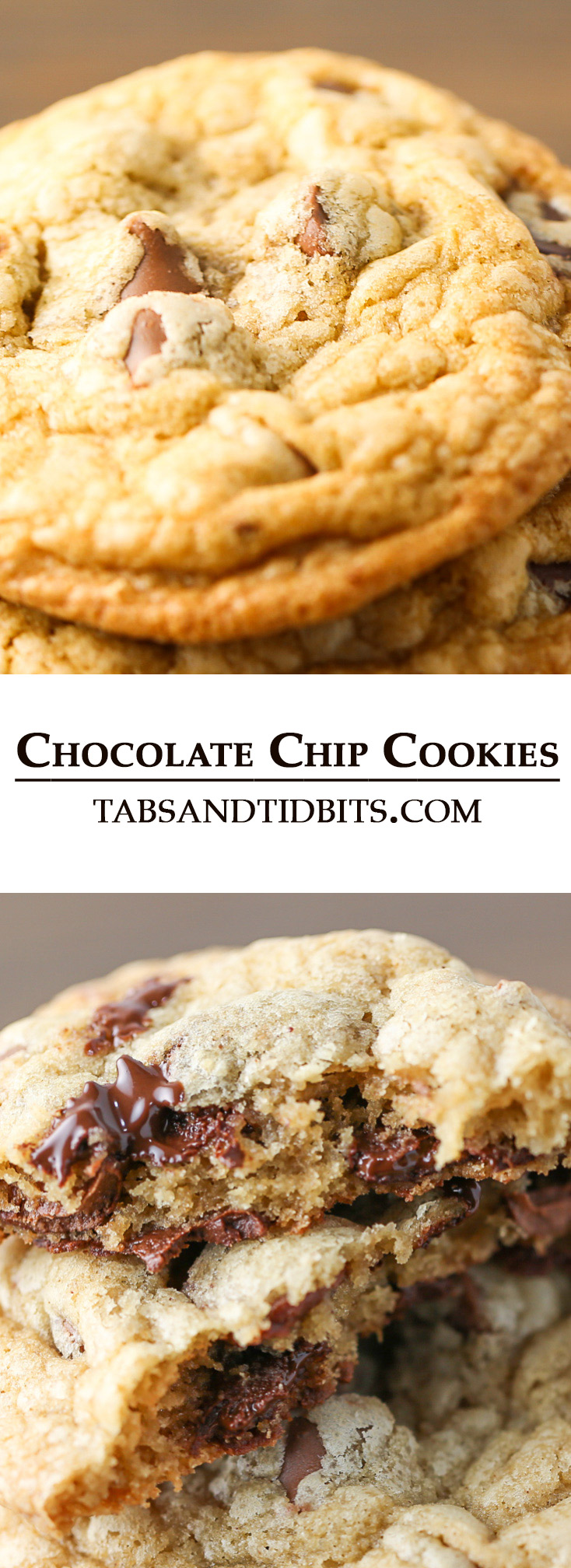 These Chocolate Chip Cookies deliver on the moist and chewy interior and buttery crisp edges and loaded with rich chocolate!