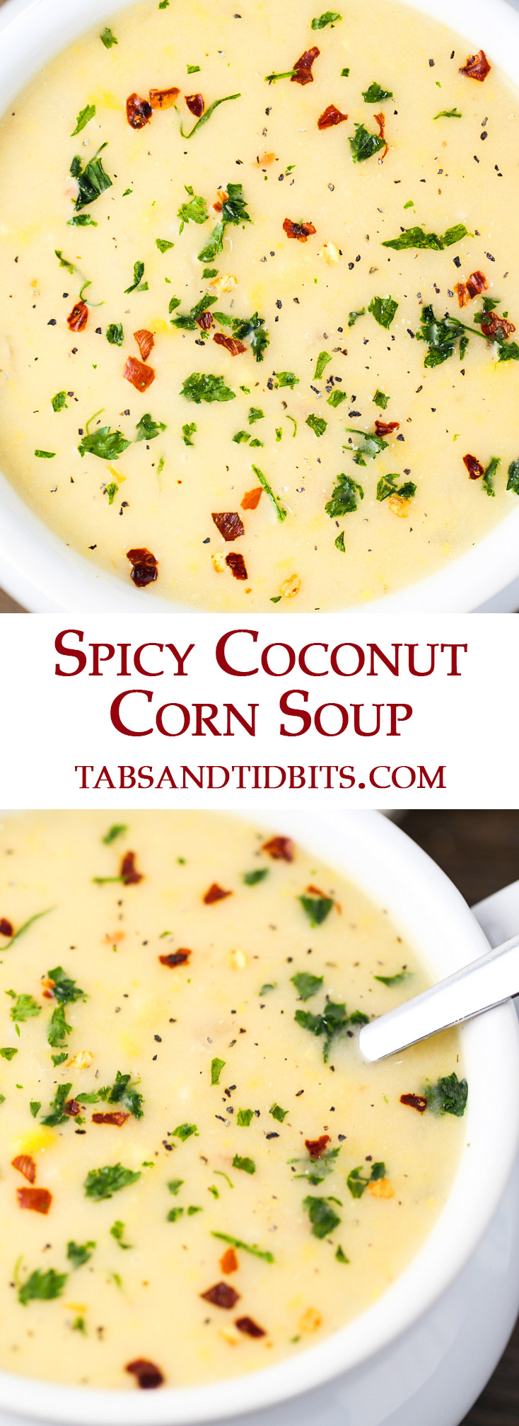 This Spicy Coconut Corn soup is simple and quick to make. Naturally sweet corn and coconut milk with the spiciness of red pepper flakes and balanced out by potatoes.