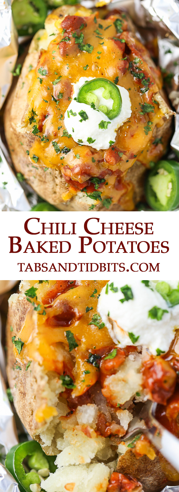 Chili Cheese Baked Potatoes start with seasoned buttery baked potatoes, topped with your favorite chili, and finally a generous amount of melted cheddar cheese!