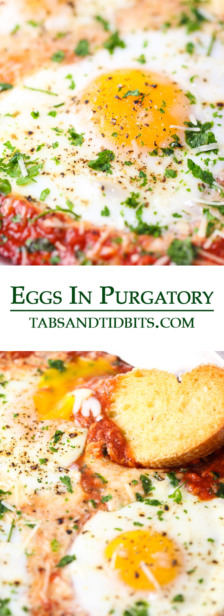 Eggs in Purgatory is a fun name that simply means eggs baked in a marinara sauce! A rustic Italian inspired dish that is made with simple ingredients and quick to make!