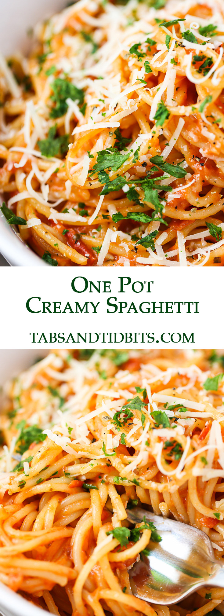 The spaghetti cooks in one pot with crushed tomatoes and vegetable broth with a little kick of heat and creaminess!