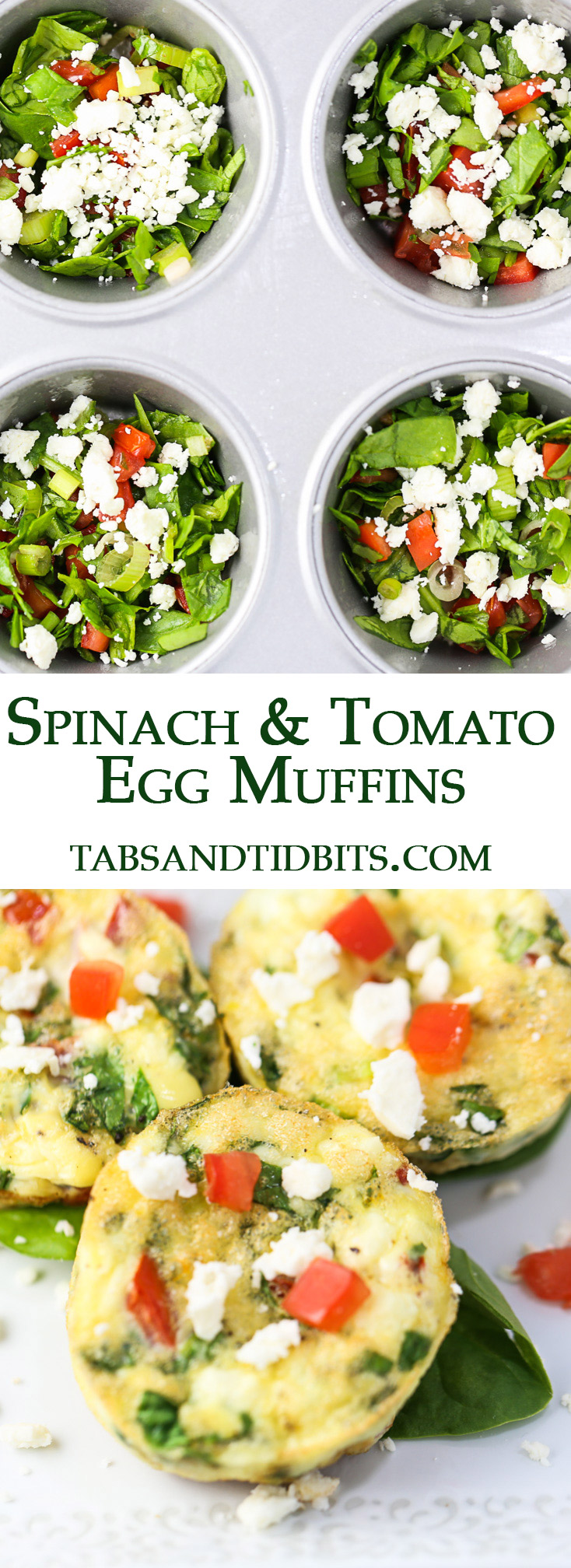 The Spinach and Tomato Egg Muffins are a healthy protein-packed breakfast to take with you on the go!