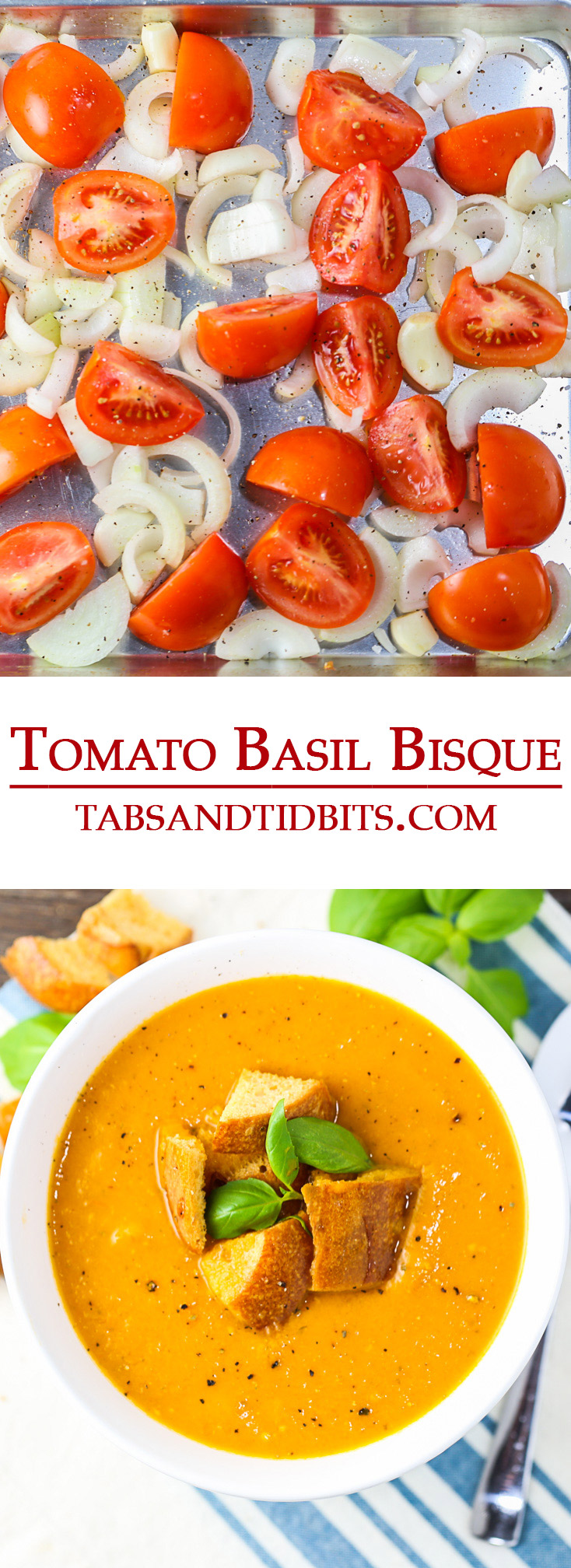 Fresh roasted tomatoes, onions and garlic are simmered together and blended with fresh basil, creating this delicious and creamy vegan Tomato Basil Bisque!