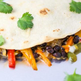 Cheesy Black Bean Veggie Quesadillas