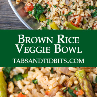 Steamed brown rice mixed with your favorite veggies flavored with spices and topped with crunchy nuts!